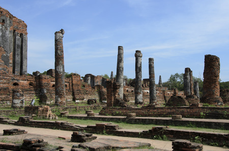 si: Ruins at Wat Phra Si Sanphet in Ayutthaya, Thailand Stock Photo