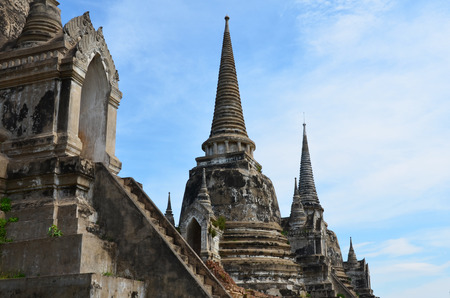 Ancient pagoda at Wat Phra Si Sanphet in Ayutthaya, Thailand photo