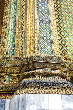 phra si rattana chedi: The close-up view of the mosaic column at Grand Palace in Bangkok, Thailand Stock Photo