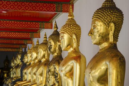 phra si rattana chedi: Buddha Statues at Grand Palace in Bangkok, Thailand Stock Photo