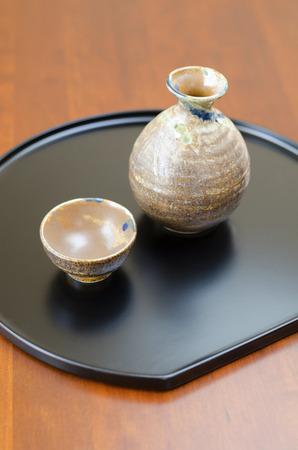 日本酒: 日本酒を飲むセット 写真素材