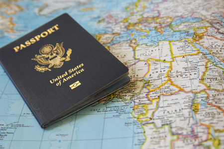 US Passport on the world map Stock fotó - 38603276
