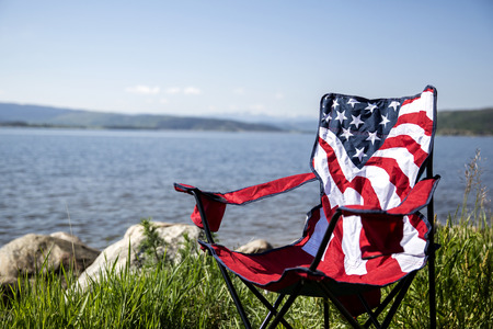 outdoor chair: American flag outdoor chair Stock Photo