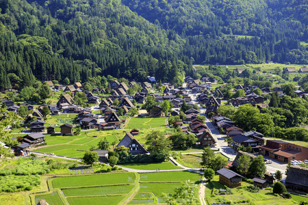 Historic village of Shirakawago in Japan is famous for the Gassho style architecture Stock Photo