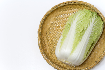 cor: Napa cabbage on bamboo tray