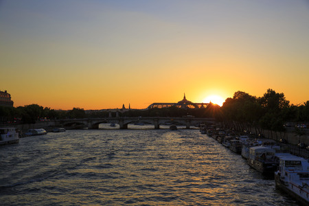Sunset over Seine River in Paris, France