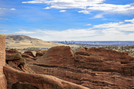 Panoramic view of Denver from to Red Rocks Park and Amphitheater in Denver, Colorado Stock Photo
