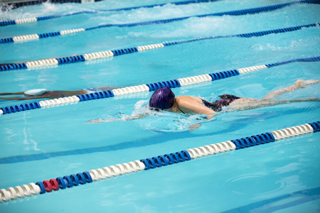 Young female swimmer during a swim meet