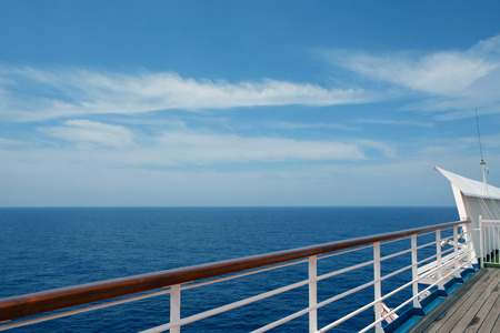 The view from the deck of a cruise ship