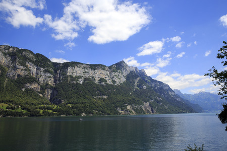 Summer view of Lake Walen in Switzerland