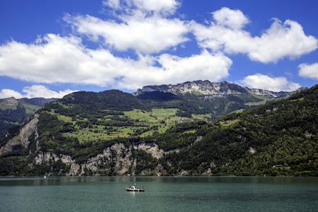 Summer view of Lake Walen in Switzerland