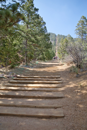 The steps of Manitou Incline Stock Photo - 112530218