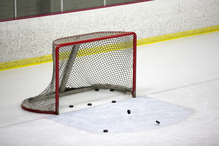 Hockey goal and pucks