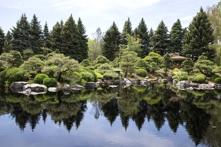 Japanese garden with rocks and pond