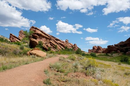 Hiking Trail at Red Rocks Park in Denver, Colorado Stock Photo