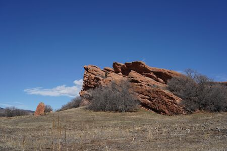 Dramatic red sandstone formation at South Valley Park in Colorado