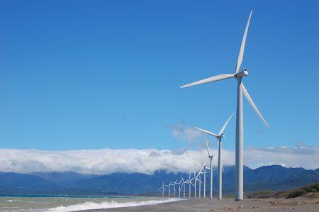 windfarm along the shore Stock Photo