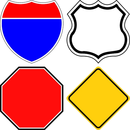 routes: blank road signs Illustration