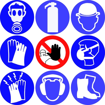 electrical safety: various work signs Illustration
