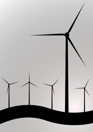 black and white wind turbine