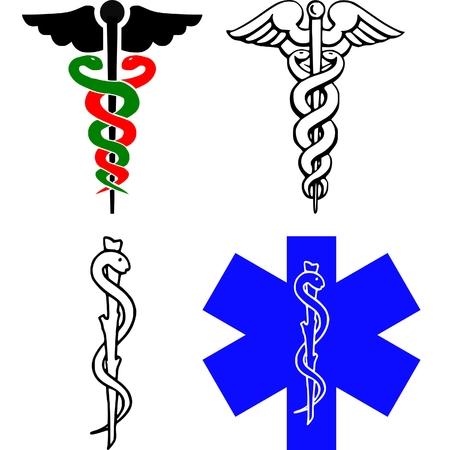 logo medicina: médicos CADUCEUS signo Vectores