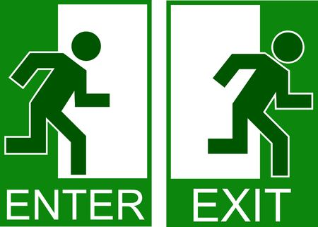 depart: enter exit sign Illustration