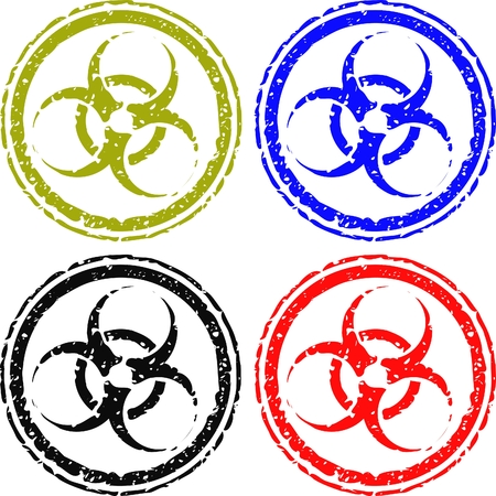 biohazard stamps isolated on white Vector