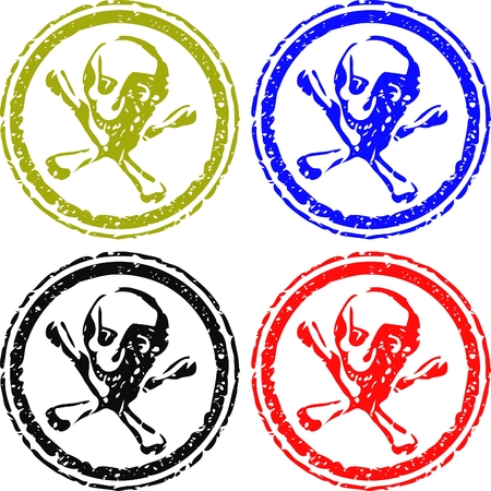 skull or poison stamps isolated on white Vector