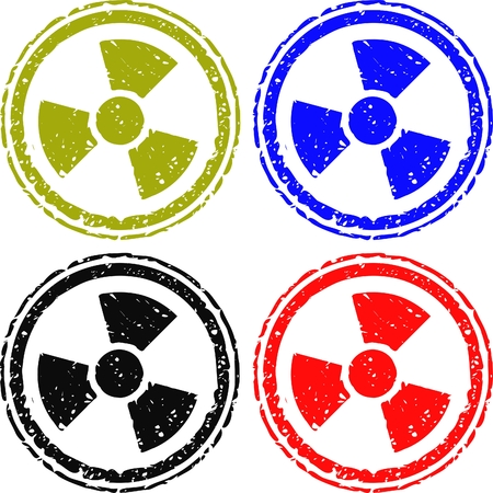 radioactive stamp is various colors Vector