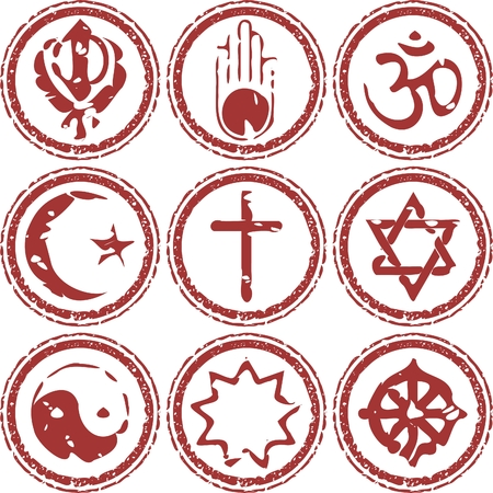 yang style: rubber stamp of world religions grungy look