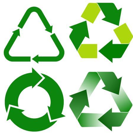 recycle: vier verschiedene Recycling-Symbole  Illustration