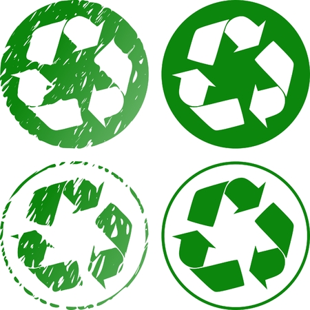 grungy recycle stamp Vector
