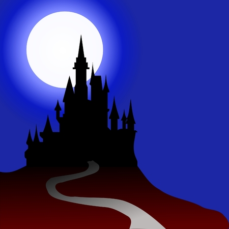 castle silhouette: haunted house Illustration
