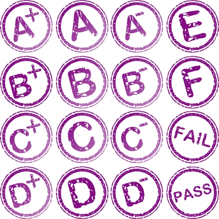 passed test: rubber stamps for school grades