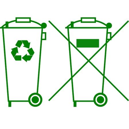 afvalbak: Prullen bak kunt ondertekenen  Stock Illustratie