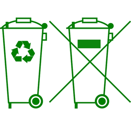 recycle symbol: trash can sign Illustration