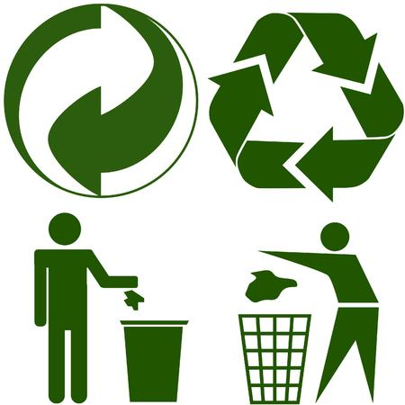 reuse: four various ecology icon Illustration