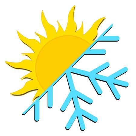 zon en sneeuw weer pictogram Vector Illustratie