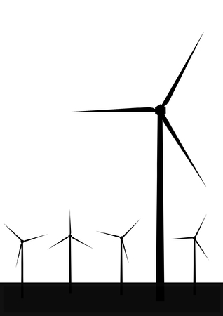 windmolens: windturbine silhouet Stock Illustratie