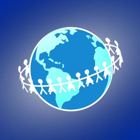 paper dols belt around earth