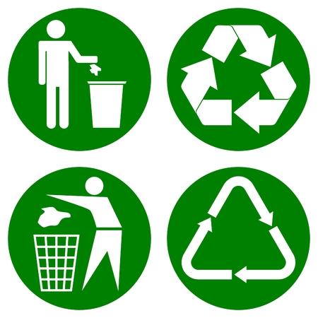 各種リサイクルする円の上のアイコン