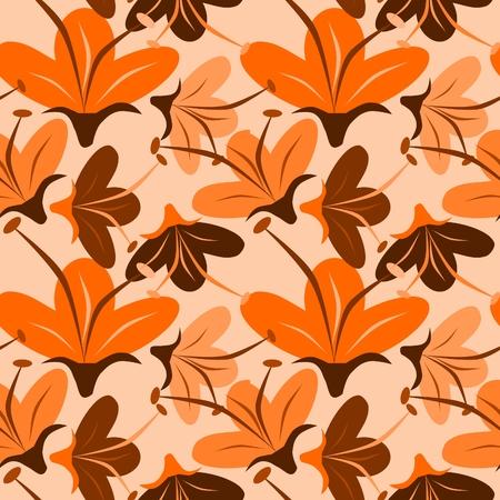 seamless orange flower Vector