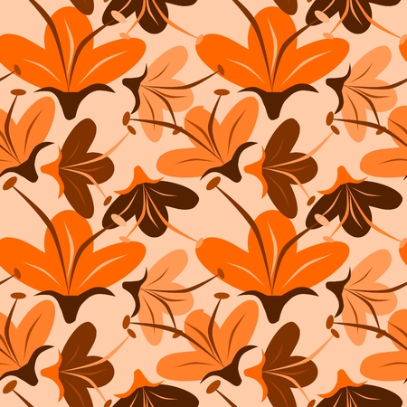 orange rose: seamless orange flower Illustration