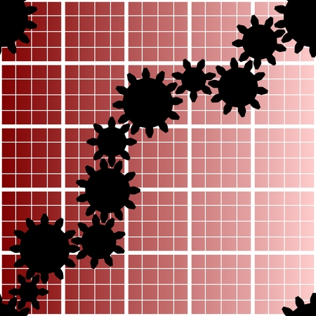 vector. seamless gear mesh with red graph background Vector