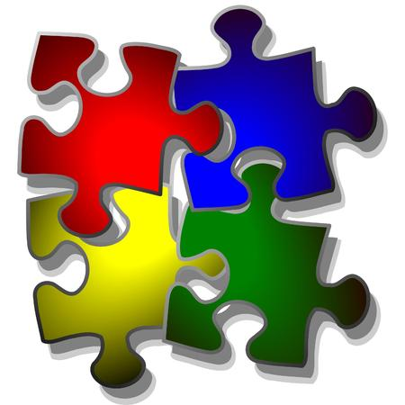 jigsaw puzzle in four colors Vector