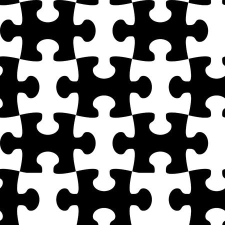 Black and white jigsaw puzzle seamless Vector