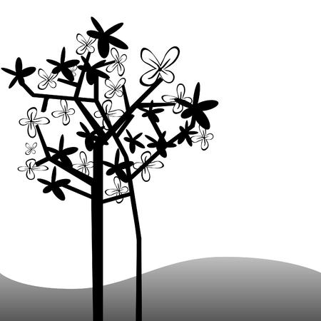 balck: balck and white abstract tree Illustration