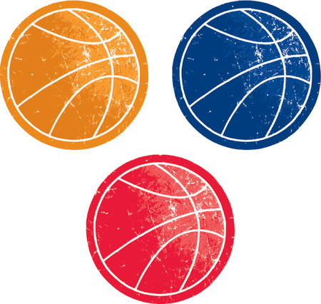 A vector-based grouping of three colored, scratched grunge basketballs