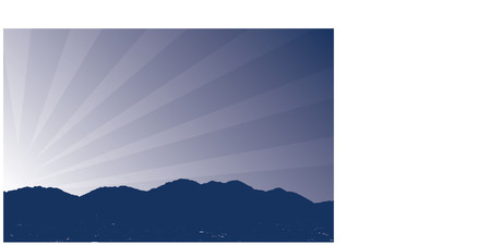 sun rising: Vector illustration of mountains with sun rising in the background with the lights of the city in the valley below