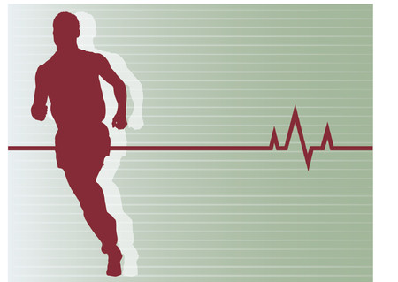 Vector Illustration of SILHOUETTE of man running with heartbeat background